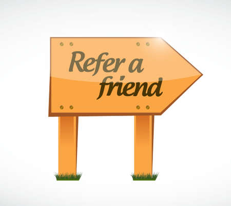 feedback link: refer a friend wood sign concept illustration design
