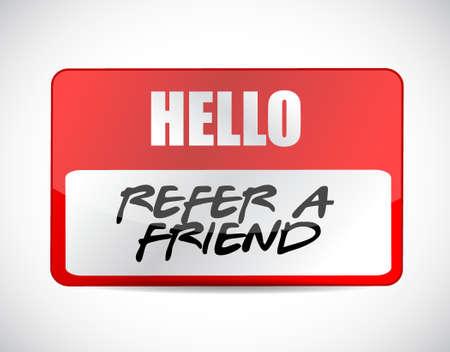 refer: refer a friend name tag sign concept illustration design Illustration