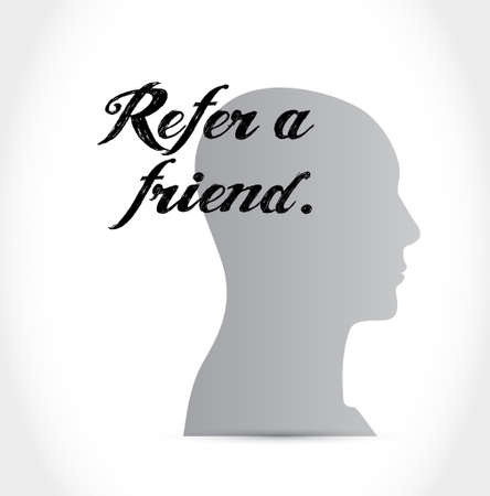 suggestive: refer a friend mind sign concept illustration design