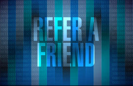 refer a friend binary sign concept illustration design Ilustração