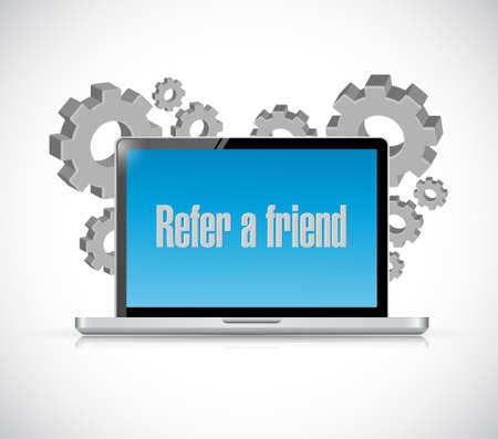 refer: refer a friend industrial tech sign concept illustration design Illustration
