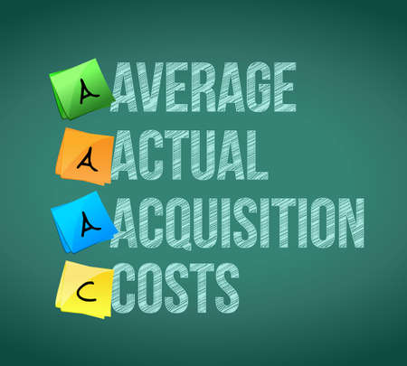acquisition: average actual acquisition costs post memo chalkboard sign illustration design Illustration