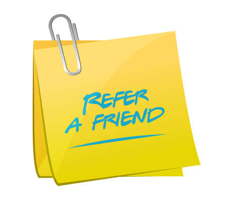 refer: refer a friend post message illustration design over white