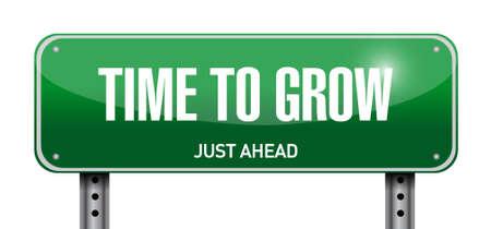 time to grow road sign illustration design over white Illustration