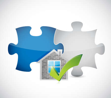 approve icon: real estate home approve puzzle pieces illustration design graphic over a white background