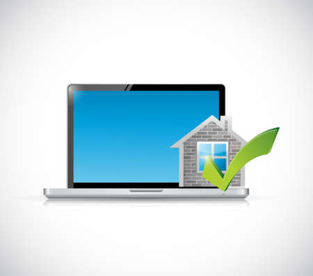 answer approve of: real estate home approve computer illustration design graphic over a white background