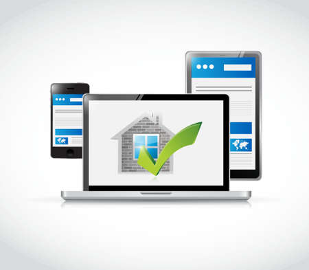 answer approve of: real estate home approve electronics illustration design graphic over a white background