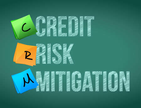 mitigation: credit risk mitigation post memo chalkboard sign illustration design