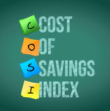 cost savings: cost of savings index post memo chalkboard sign illustration design
