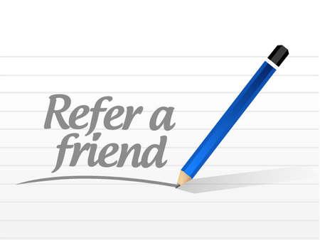refer: refer a friend message sign concept illustration design