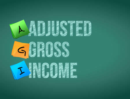 adjusted: adjusted gross income post memo chalkboard sign illustration design