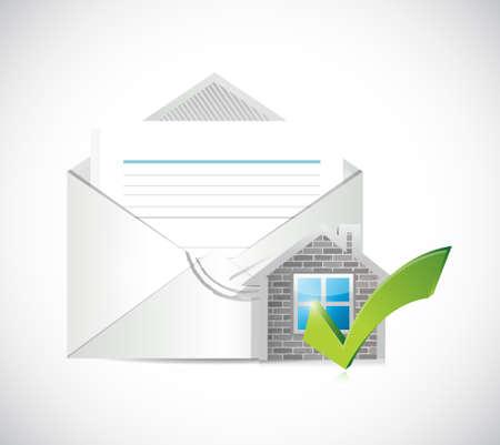 e survey: real estate home approve envelopes illustration design graphic over a white background Illustration