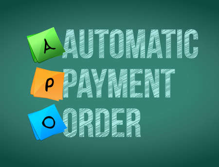 automatic: automatic payment order post memo chalkboard sign illustration design