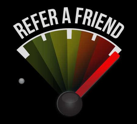 refer: refer a friend speedometer sign concept illustration design