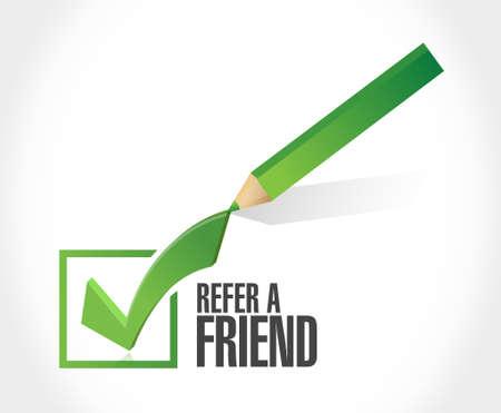 refer: refer a friend checkmark sign concept illustration design