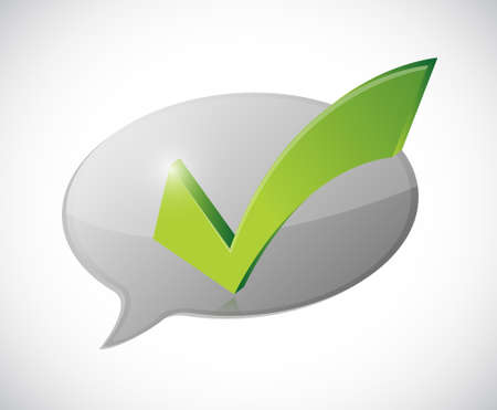 valid: check mark white message of approval illustration design over white Illustration