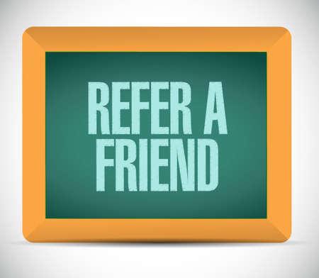 refer: refer a friend chalkboard sign concept illustration design