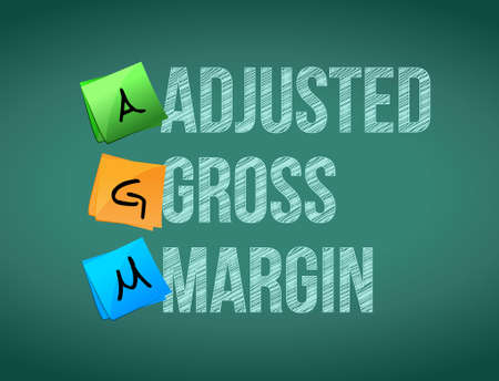 adjusted: adjusted gross margin post memo chalkboard sign illustration design