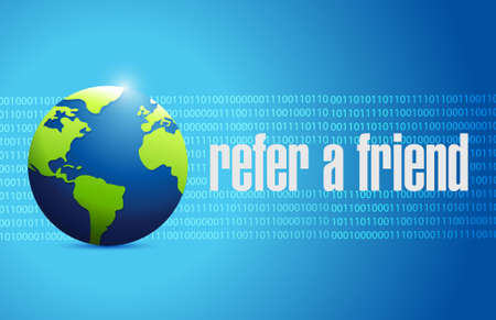 binary globe: refer a friend globe binary sign concept illustration design