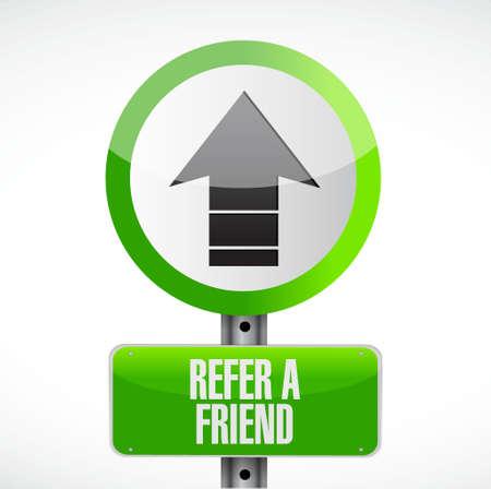 refer: refer a friend up road sign concept illustration design Illustration