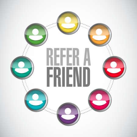 refer: refer a friend network sign concept illustration design