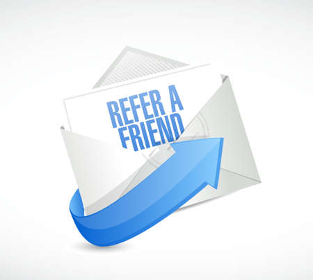 feedback link: refer a friend mail sign concept illustration design