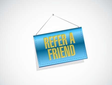 refer: refer a friend banner sign concept illustration design