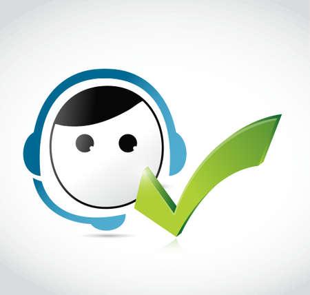 great customer service male representative illustration design over white