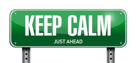keep calm road sign illustration design over white Illustration