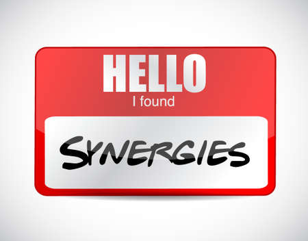 synergies: I fond synergies name tag illustration design over white Illustration