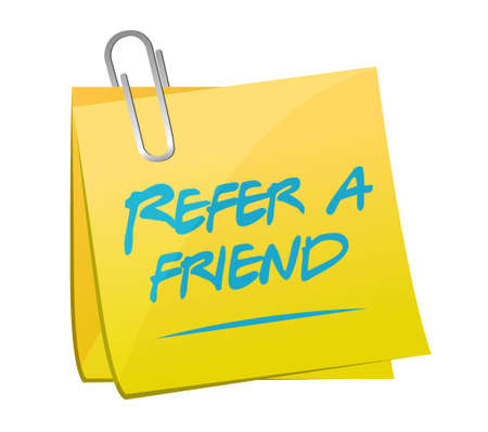 feedback link: refer a friend post memo sign concept illustration design Illustration