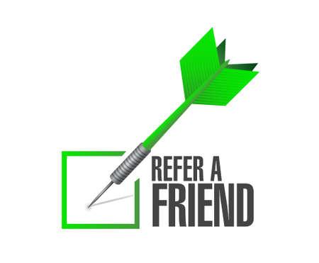 refer: refer a friend check dart sign concept illustration design