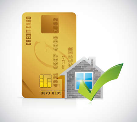 real estate home approve credit card illustration design graphic over a white background
