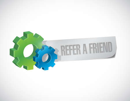 suggestive: refer a friend gear sign concept illustration design