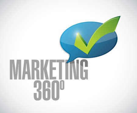answer approve of: marketing 360 check mark message illustration design over white