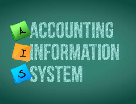 systems: accounting information system post memo chalkboard sign illustration design