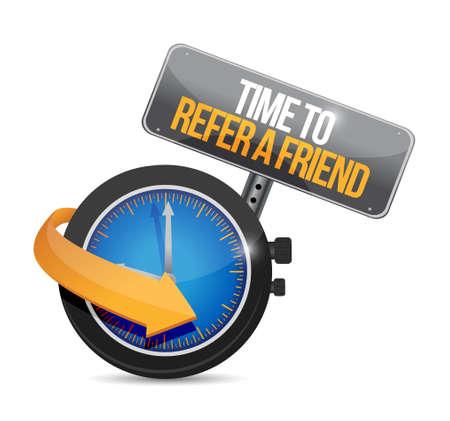 time to refer a friend sign concept illustration design
