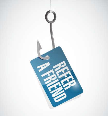 refer: refer a friend fish hook sign concept illustration design Illustration