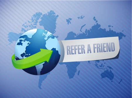 refer: refer a friend international sign concept illustration design Stock Photo
