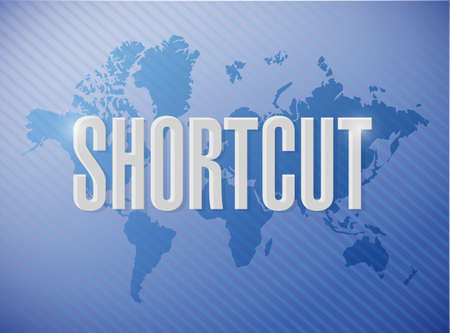 shorter: Shortcut world sign concept illustration design graphic