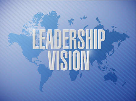 leadership vision world map sign illustration design over a blue background Stock Photo