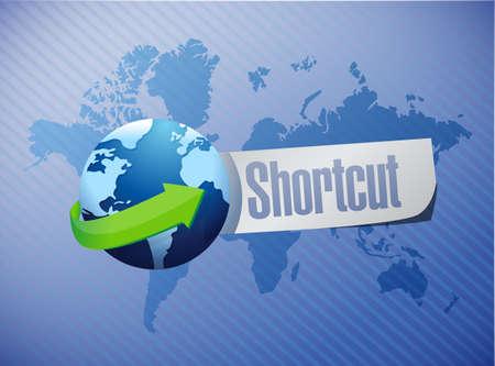 shorter: Shortcut international sign concept illustration design graphic