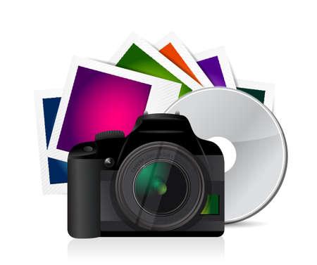 photo icon: camera photos and cd illustration design graphic