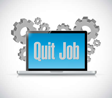 resign: quit job tech computer sign concept illustration design graphic Illustration