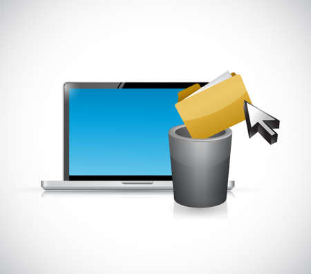 deleting: deleting files from computer. illustration design graphic