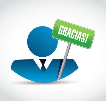 spanish thanks message avatar sign illustration design graphic