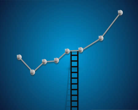 up business graph and ladder concept illustration design background