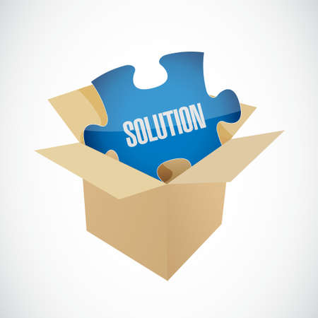 box of matches: solution puzzle piece inside box illustration design graphic