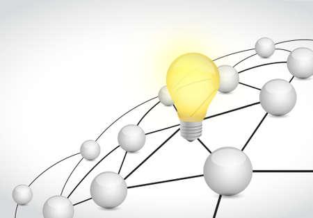network connection: link network connection light bulb illustration design graphic Illustration