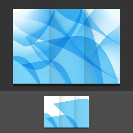 brochure background: blue abstract trifold template illustration design over a grey background